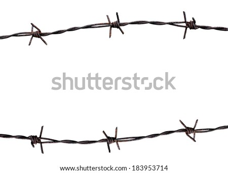 Rusty barbed wire isolated