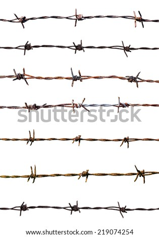 Rusty barbed wire isolated - stock photo