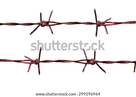 Rusty barbed wire isolated on r white background