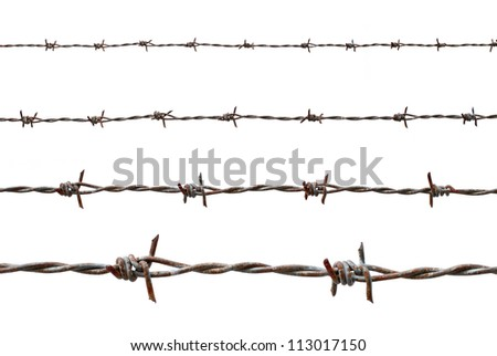 Rusty barbed wire isolated on white - stock photo