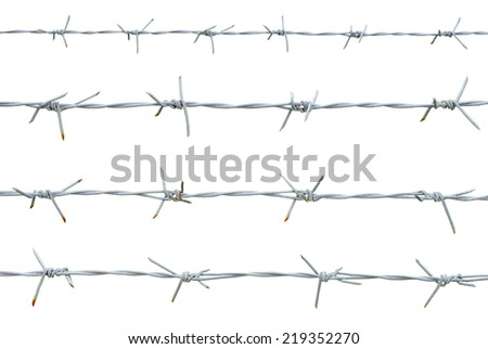 Rusty barbed wire isolated on white background. clipping path. - stock photo
