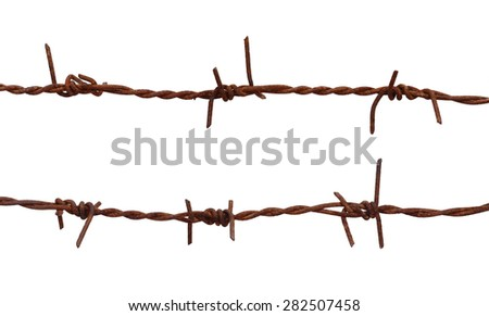 Rusty barbed wire over white background - stock photo