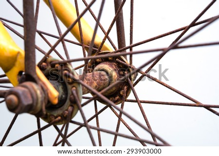 Rusty bicycle front wheel include spokes, front fork against white background