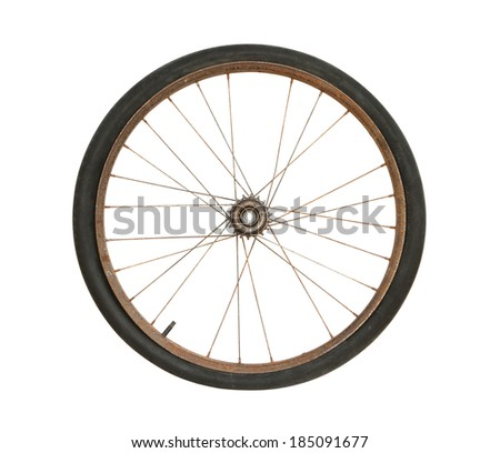 Rusty bicycle wheel isolated on white background