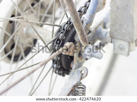 Rusty bike chain on white background.copy space and selective focus - stock photo