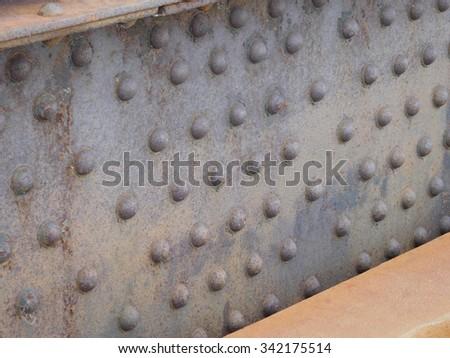 Rusty Bridge Beam & Rivets - stock photo