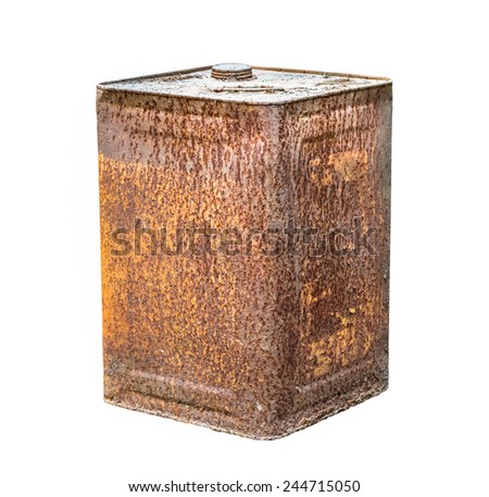 Rusty can isolated on white background