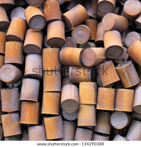 rusty cans - stock photo