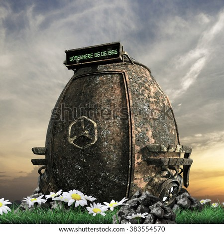 rusty capsule time machine on green lawn - stock photo