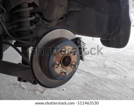 rusty car disc brake without wheel