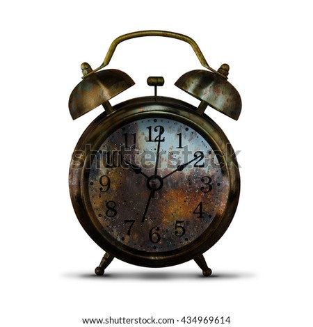 Rusty Clock Isolated on White Background