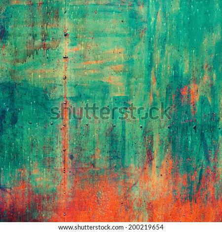 Rusty Colored Metal with cracked paint, grunge background - stock photo