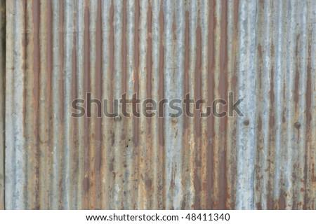 Rusty corrugated iron, Bangkok, Thailand. - stock photo