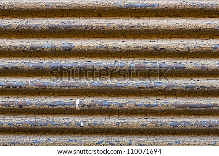 Rusty corrugated metal texture details. - stock photo