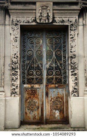 rusty door with ornaments and decorative frame & Rusty Door Ornaments Decorative Frame Stock Photo (Royalty Free ...