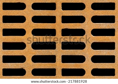 Rusty drain grate background texture, seamlessly tileable - stock photo