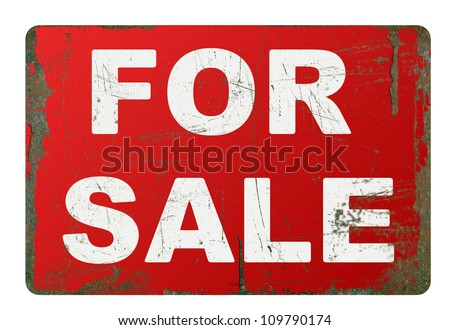 Rusty for sale sign on white - stock photo