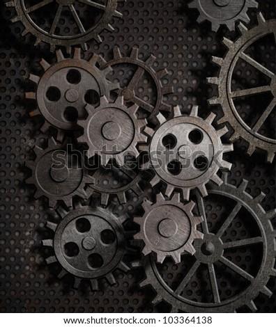 rusty gears metal background - stock photo