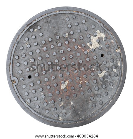 Rusty, grunge manhole cover, ROUNDED edge, rim isolated - stock photo