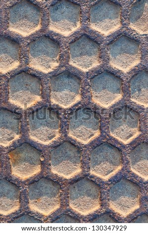 rusty iron manhole texture abstract background