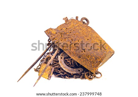 rusty iron steel metal scrap for recycling  isolated on white background - stock photo