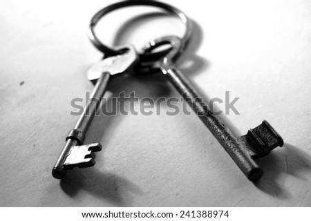 rusty keys black and white - stock photo