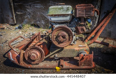 Rusty lawn mower,Rusty retro agricultural machinery