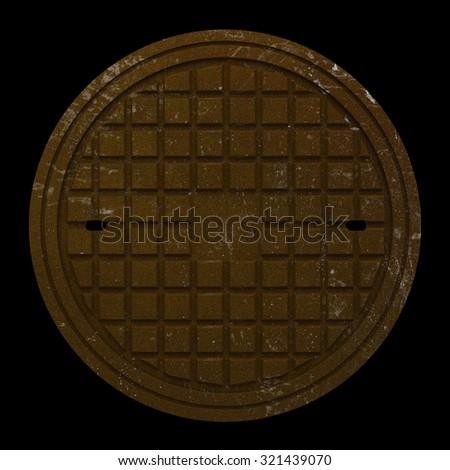 rusty manhole cover isolated on black background - stock photo