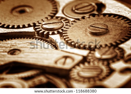 rusty mechanism in the old clock - stock photo