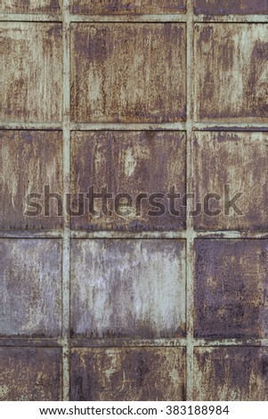 Rusty metal background, detail of a texture of rust, damaged and abandoned - stock photo
