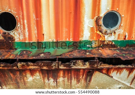 Rusty metal background with old layers.Old rusty ship.
