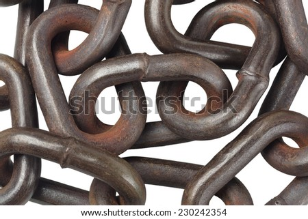 Rusty Metal Chain On Isolated Background - stock photo