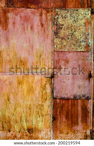 Rusty Metal Colorful Background with Scratches - stock photo