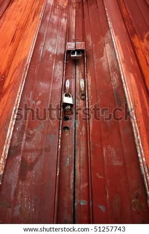 rusty metal door - stock photo