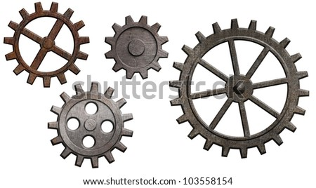 rusty metal gears set isolated on white - stock photo