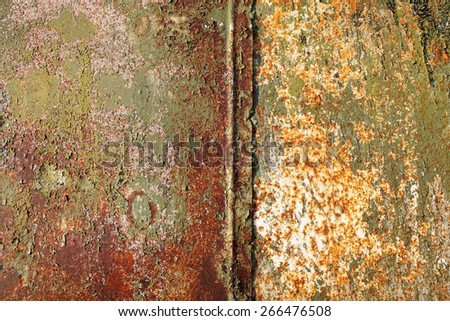 rusty metal old and shabby with old paint - stock photo