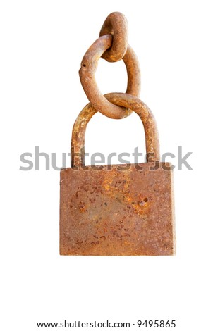 Rusty metal padlock with chain isolated on white - stock photo