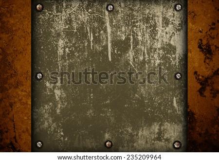 rusty metal plate - stock photo