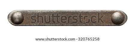 Rusty metal plate texture with rivets - stock photo