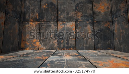 Rusty Metal Room as a Background - stock photo