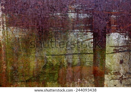 Rusty metal sheet with paint stain as background