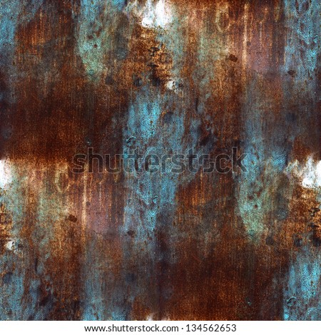 Rusty Metal Texture Pattern Plate Blue Brown Iron Seamless Background