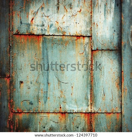rusty metal welded plates grunge background - stock photo
