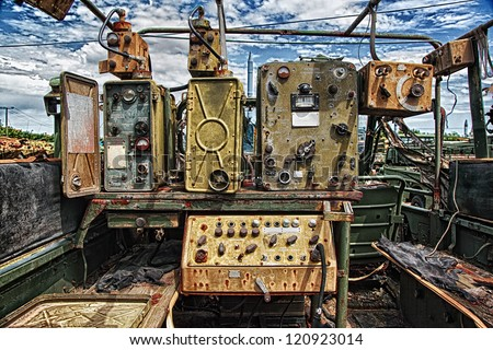 rusty military radio equipment from the cold war - stock photo