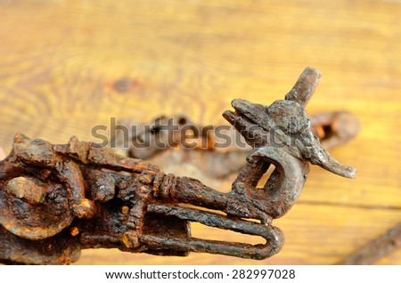 rusty muskets mechanisms, archaeological find - stock photo