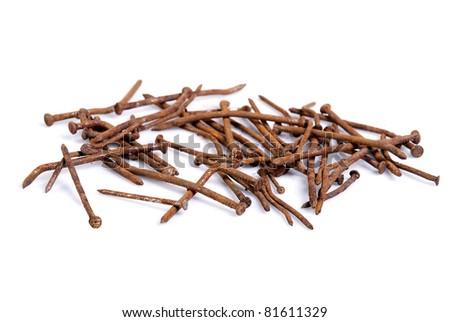 rusty nails - stock photo
