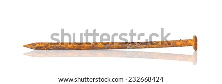 rusty nails isolated on white background