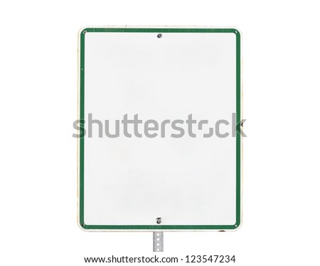 Rusty old blank white sign with isolated with clipping path. - stock photo