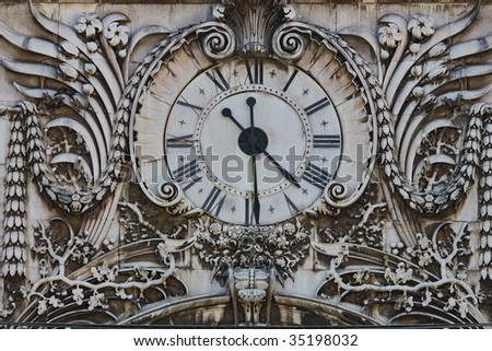 Rusty old clock - stock photo