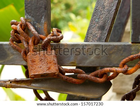 Rusty Old Lock Close Up - stock photo